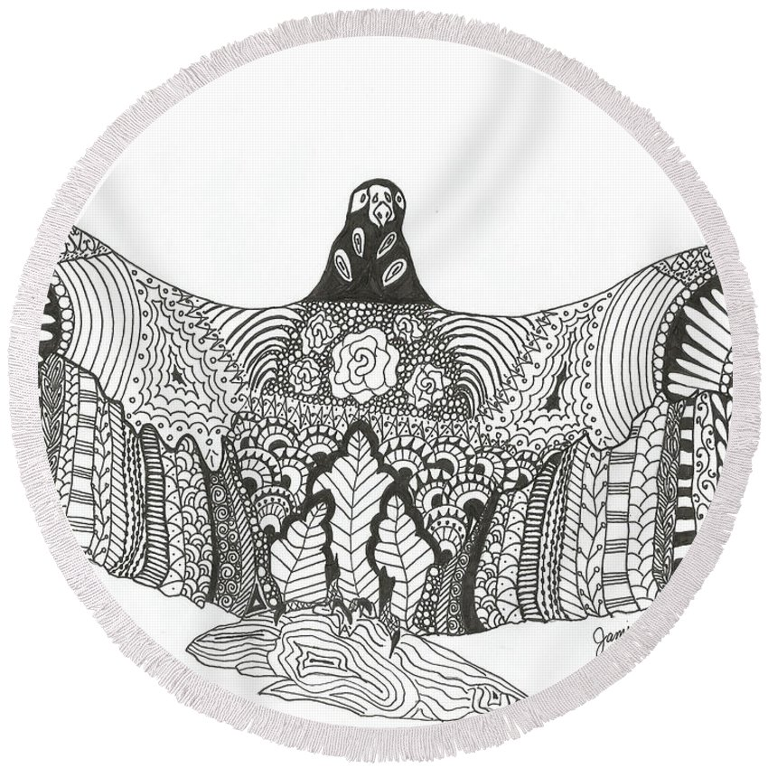Vulture Round Beach Towel featuring the drawing Vulture Wild Ink by Jamie Ramirez