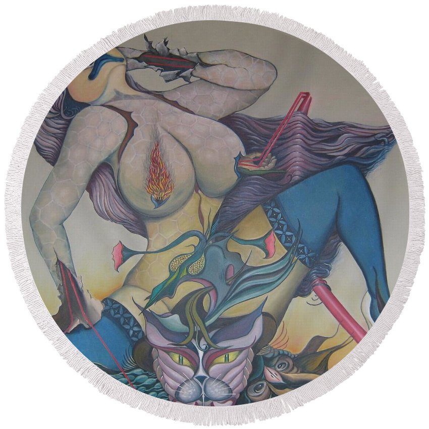 Sensual Round Beach Towel featuring the painting Fervently by Bob Ivens
