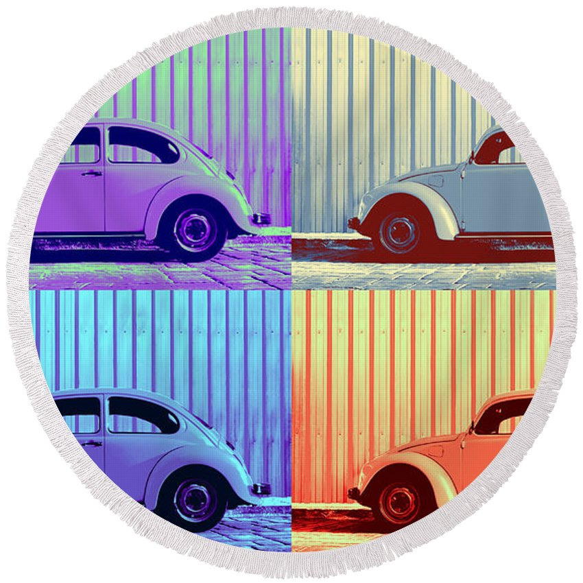 Pop Art Quad Round Beach Towel featuring the photograph Vw Pop Winter by Laura Fasulo
