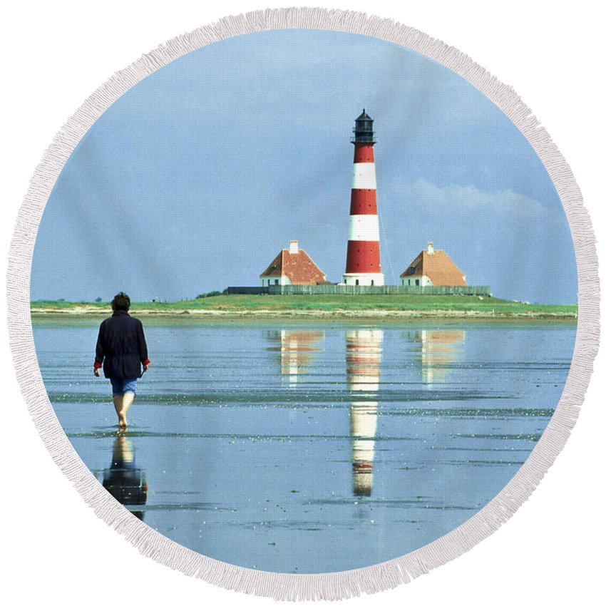 Europe Round Beach Towel featuring the photograph Wadden Sea With Westerhever Lighthouse by Heiko Koehrer-Wagner