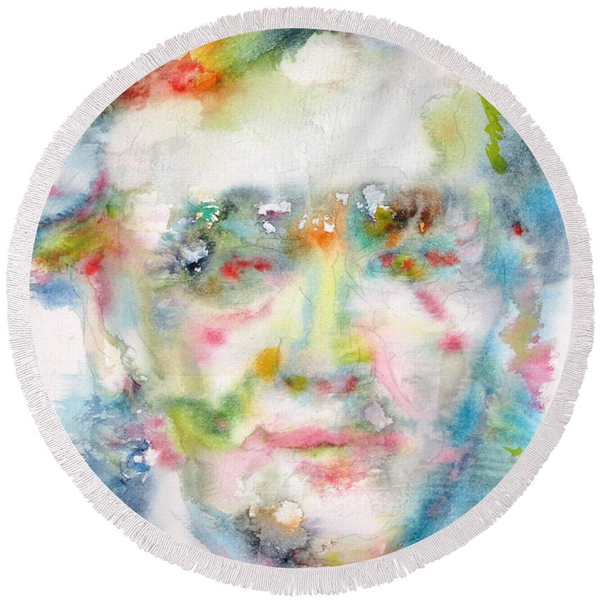 Richard Wagner Round Beach Towel featuring the painting Wagner - Watercolor Portrait by Fabrizio Cassetta