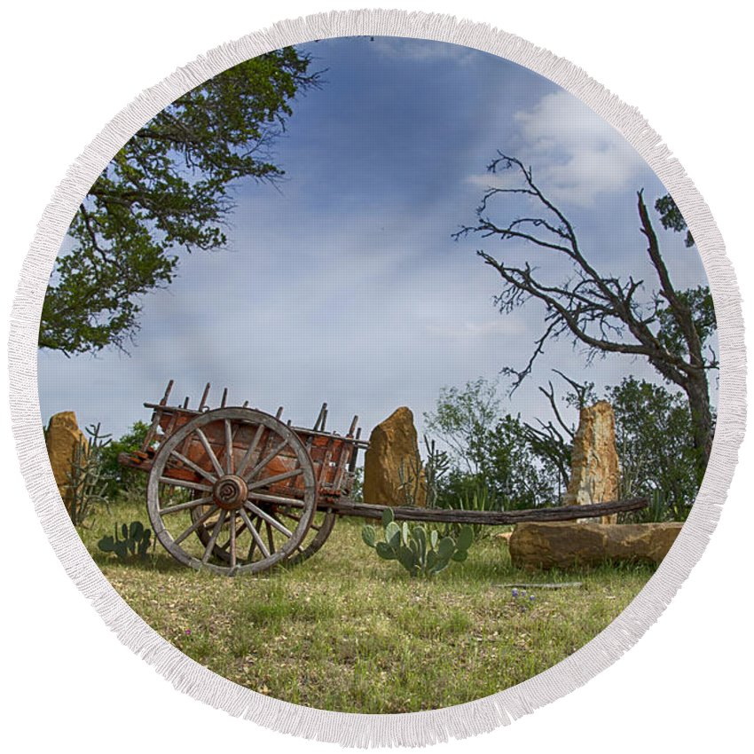 Wagon-hill Country Round Beach Towel featuring the photograph Wagon-hill Country Texas V2 by Douglas Barnard