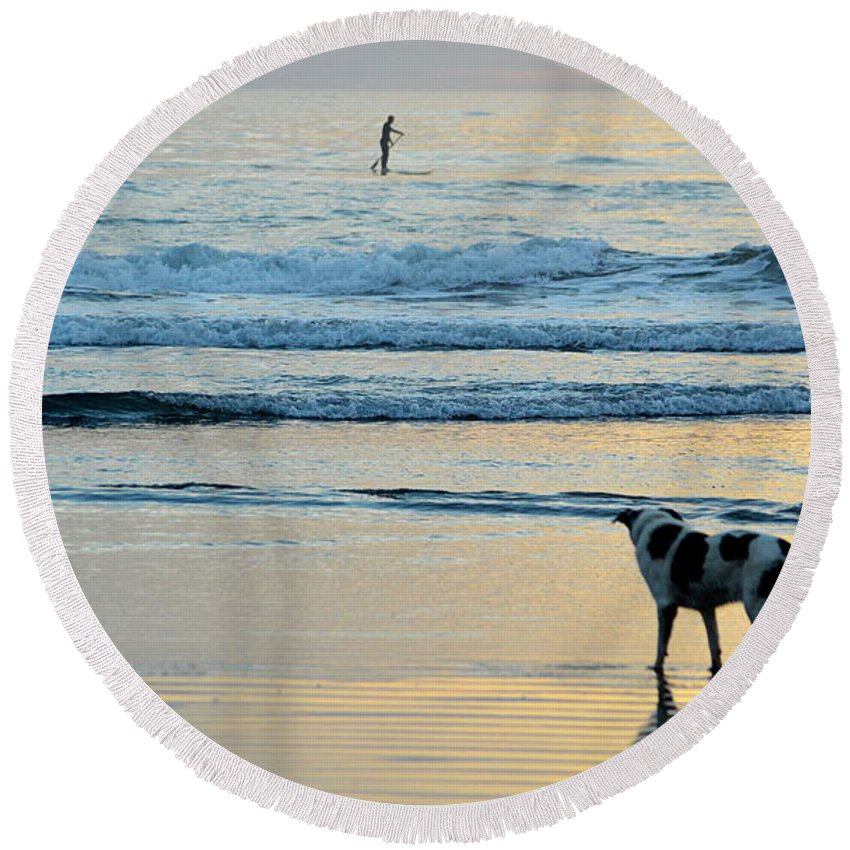 Scenic Round Beach Towel featuring the photograph Wait For You by AJ Schibig