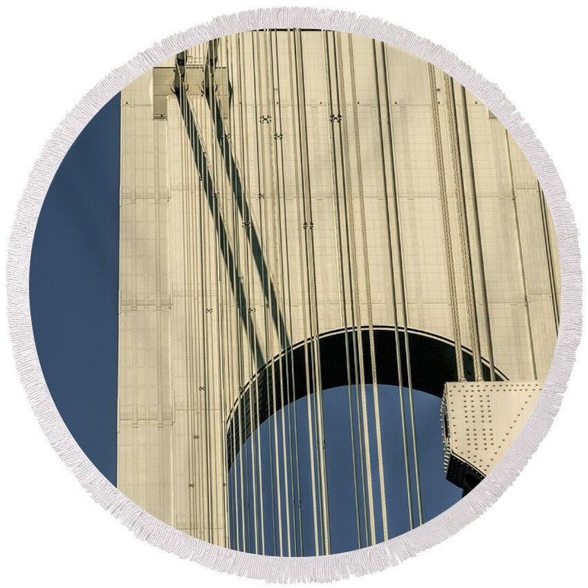 Bridge Cables Round Beach Towel featuring the photograph Wait Of The World by S Paul Sahm