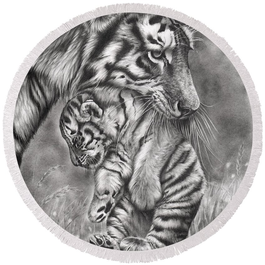 Tiger Round Beach Towel featuring the drawing Wait 'til Your Father Gets Home by Peter Williams