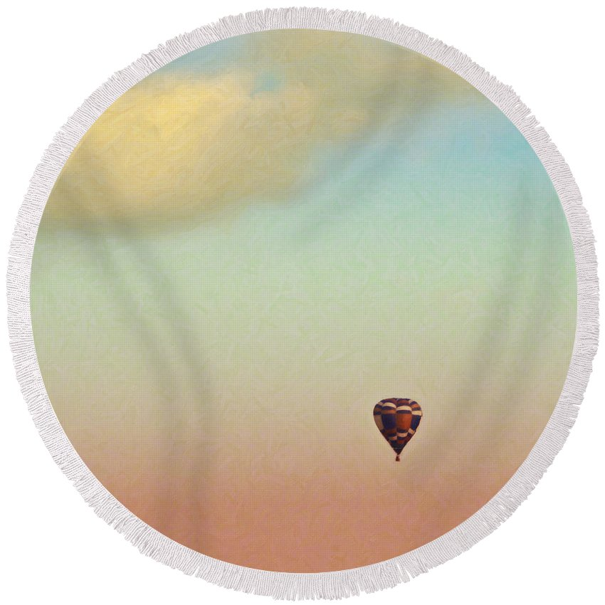 Hot Air Balloon Round Beach Towel featuring the mixed media Waiting At Walmart by Trish Tritz