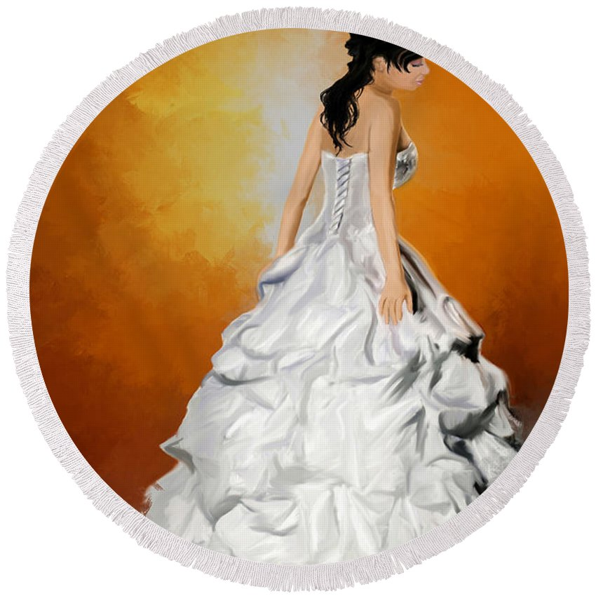 Wedding Round Beach Towel featuring the painting Waiting Bride by Joseph A Newton