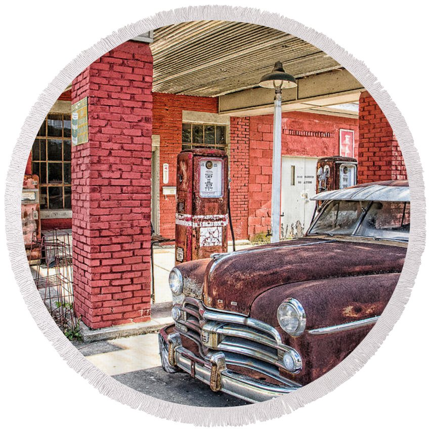 Steven Bateson Round Beach Towel featuring the photograph Waiting For Gas by Steven Bateson