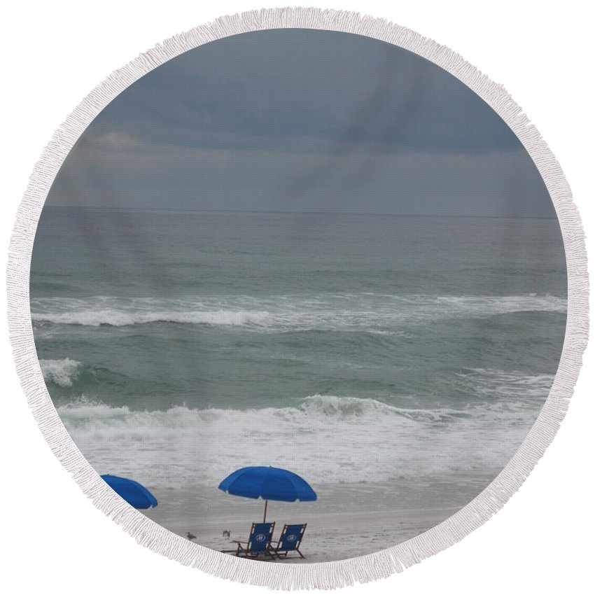 Sun Chairs Round Beach Towel featuring the photograph Waiting For Sunshine by Christiane Schulze Art And Photography