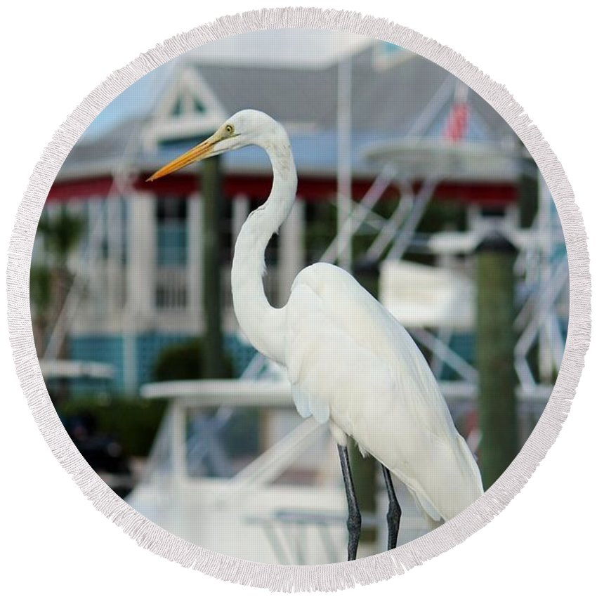Egret Round Beach Towel featuring the digital art Waiting For The Boat by Cynthia Guinn