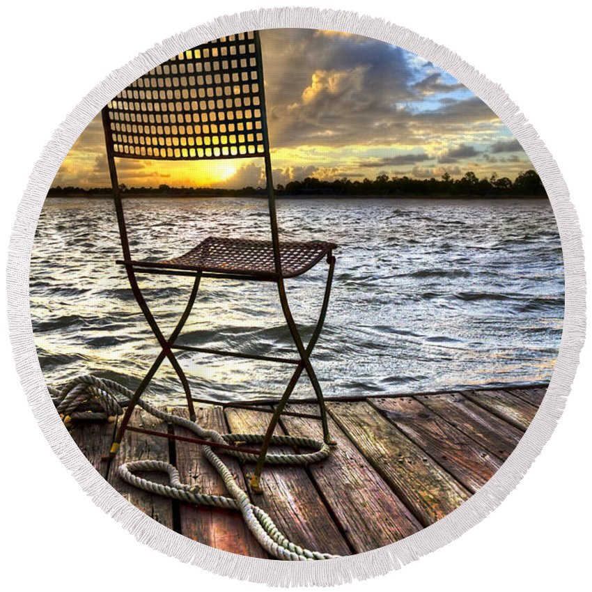 Boats Round Beach Towel featuring the photograph Waiting For The Captain by Debra and Dave Vanderlaan