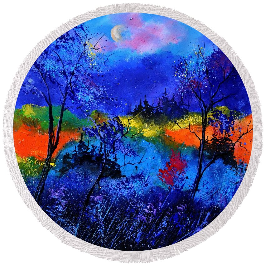 Landscape Round Beach Towel featuring the painting Waiting For The Fairy Queen by Pol Ledent