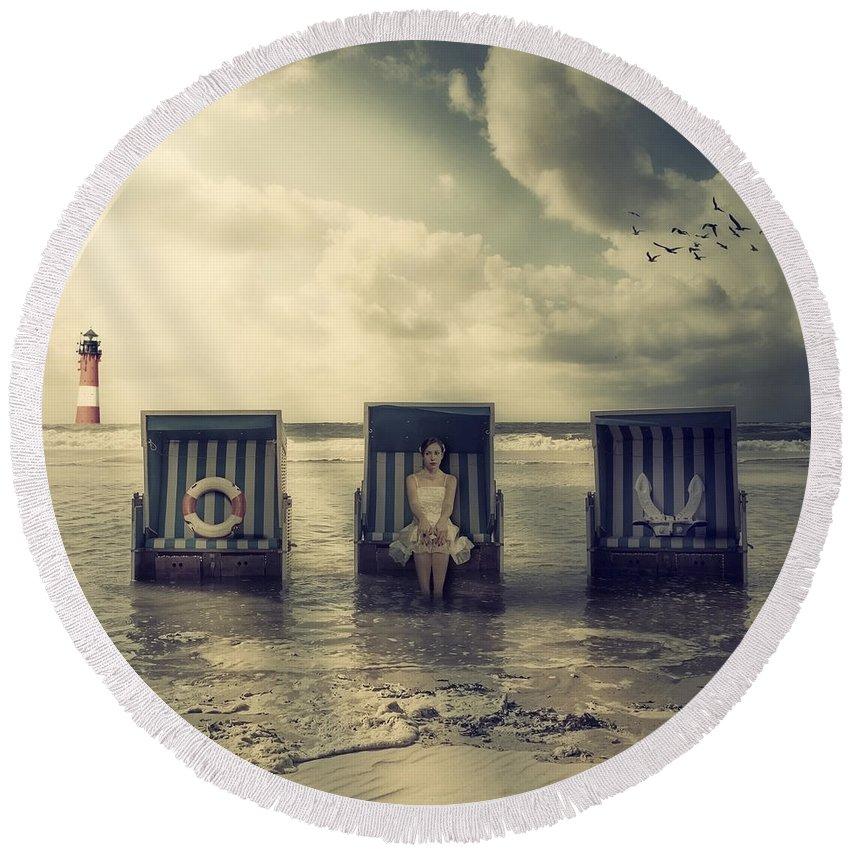 Beach Chair Round Beach Towel featuring the photograph Waiting For The Flood by Joana Kruse
