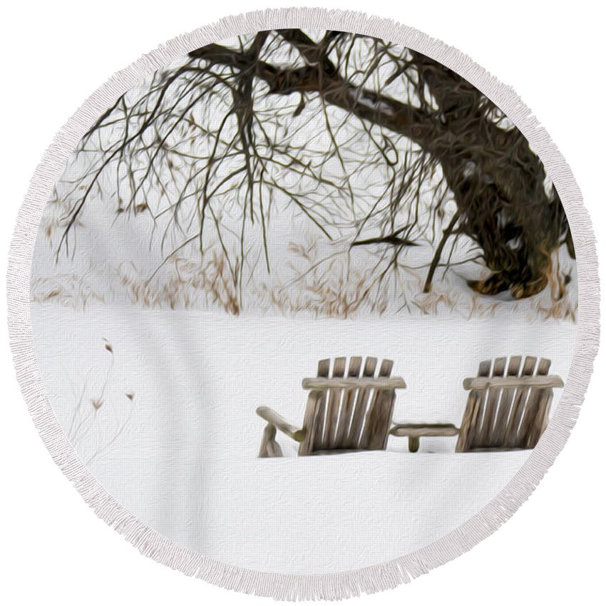 Waiting For The Right Season As An Oil Painting Round Beach Towel featuring the photograph Waiting For The Right Season As An Oil Painting by Tracy Winter