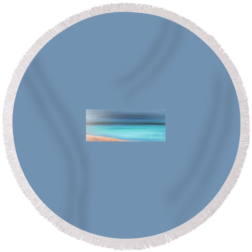 Blue Round Beach Towel featuring the painting Waiting by Jacqueline Athmann