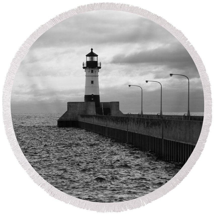 Lighthouses Round Beach Towel featuring the photograph Waiting On Gales by Alison Gimpel