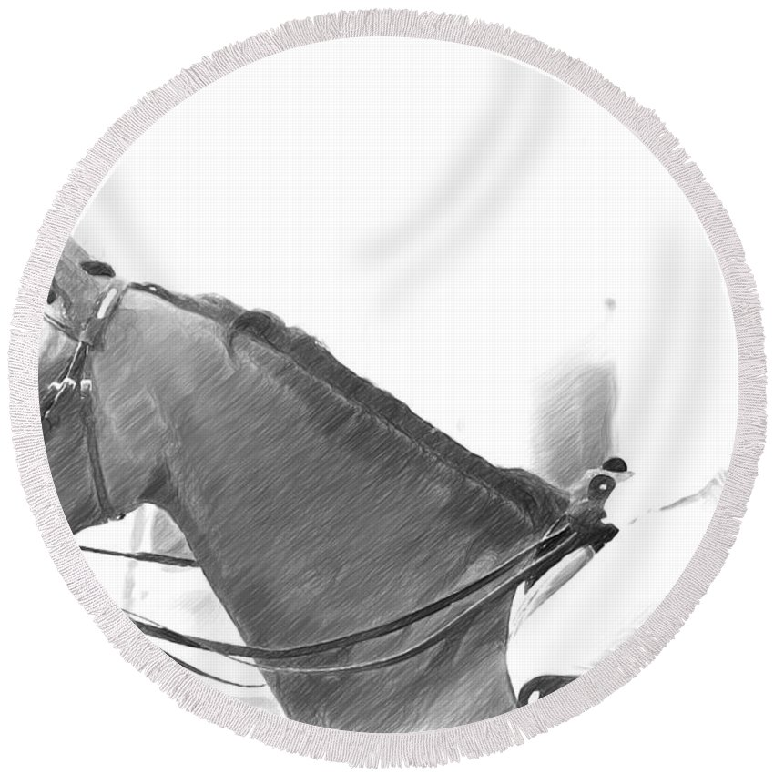 Horse Round Beach Towel featuring the photograph Waiting To Jump by Alice Gipson