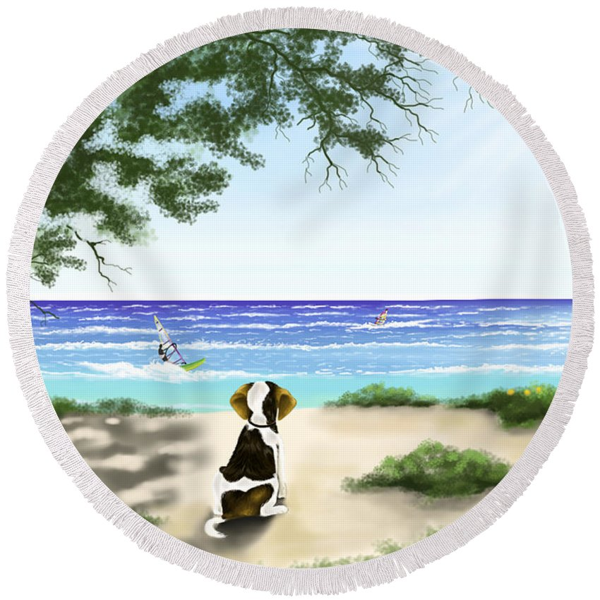 Ipad Round Beach Towel featuring the painting Waiting by Veronica Minozzi