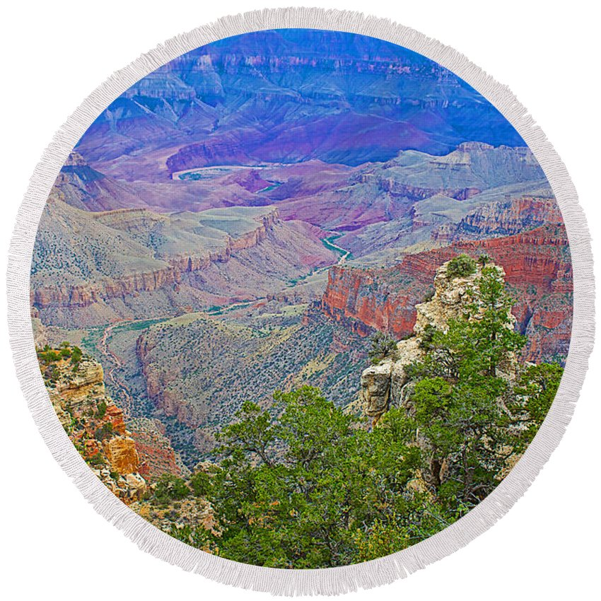 Walhalla Overlook On On North Rim/grand Canyon National Park Round Beach Towel featuring the photograph Walhala Overlook On North Rim Of Grand Canyon-arizona by Ruth Hager