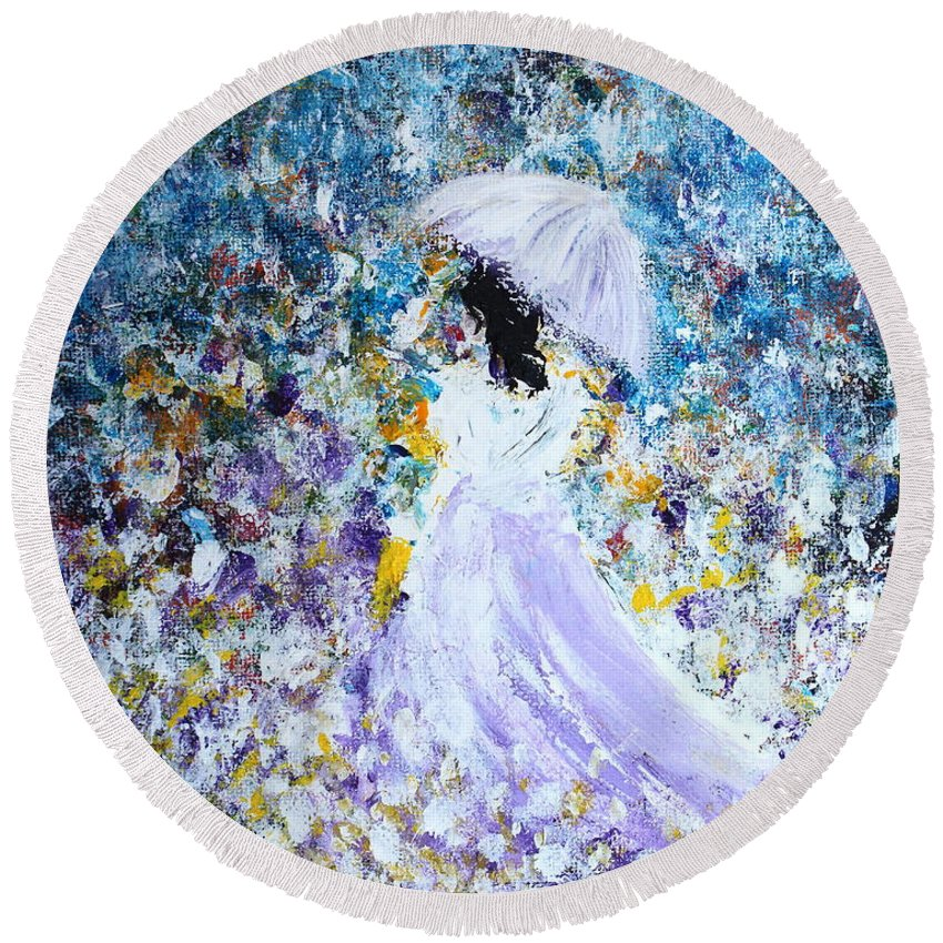 Girl Round Beach Towel featuring the painting Walk In The Garden by Kume Bryant