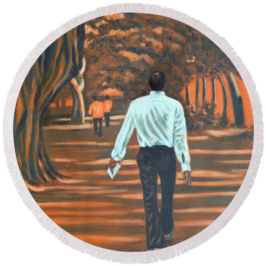 Usha Round Beach Towel featuring the painting Walk In The Woods by Usha Shantharam