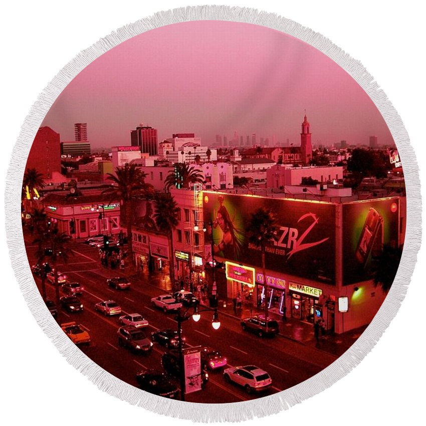 Hollywood Prints Round Beach Towel featuring the photograph Walk Of Fame In Pink by Monique's Fine Art