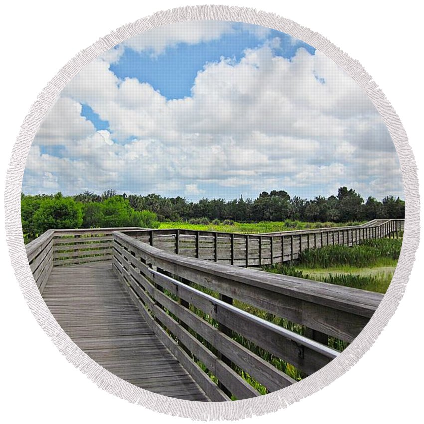 Green Cay Nature Center And Wetlands Round Beach Towel featuring the photograph Walk On Wetlands by MTBobbins Photography