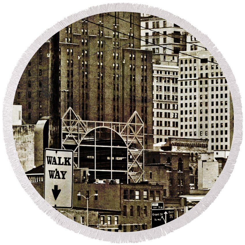 Urban Round Beach Towel featuring the photograph Walk This Way by Jessica Brawley