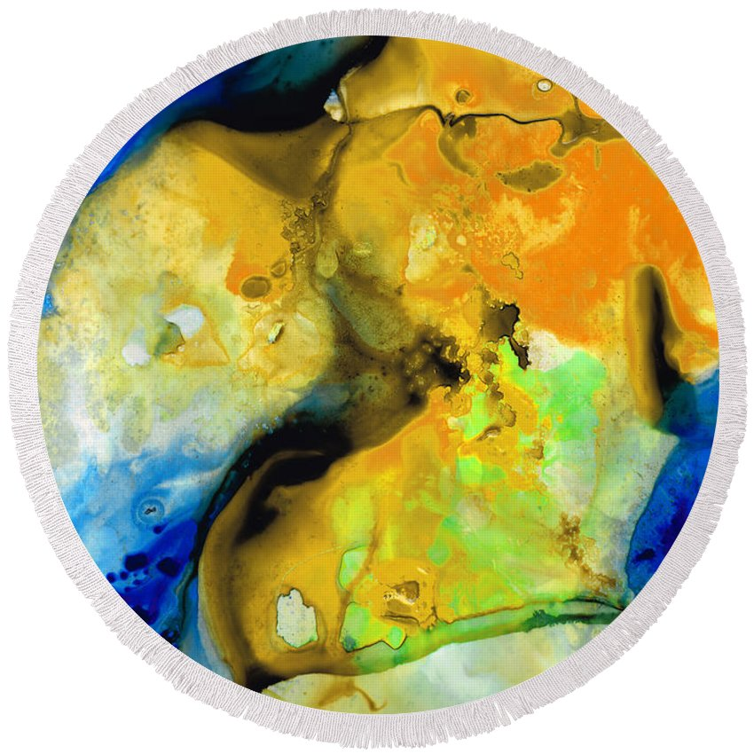 Abstract Round Beach Towel featuring the painting Walking On Sunshine - Abstract Painting By Sharon Cummings by Sharon Cummings