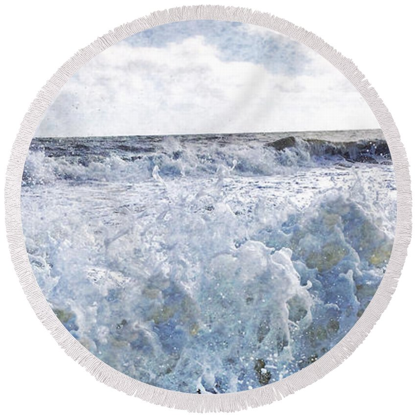 Sea Round Beach Towel featuring the mixed media Walking On Water I by Kevyn Bashore