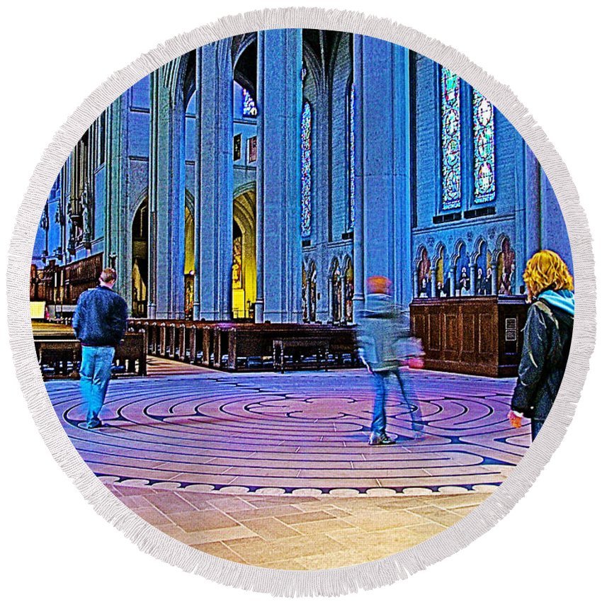 Walking The Indoor Labyrinth In Grace Cathedral In San Francisco Round Beach Towel featuring the photograph Walking The Indoor Labyrinth In Grace Cathedral In San Francisco-california by Ruth Hager