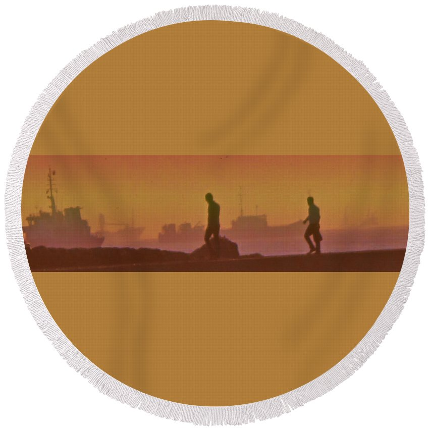 Istanbul Round Beach Towel featuring the photograph Walking The Sea Wall by Ian MacDonald