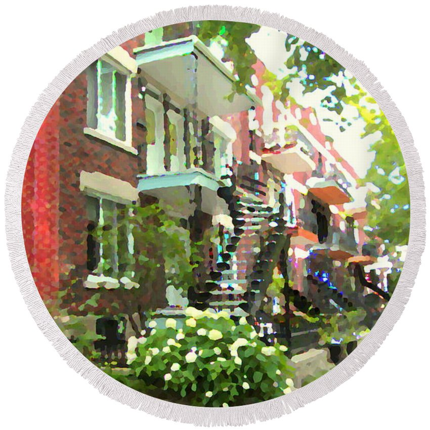 Montreal Round Beach Towel featuring the painting Walking Verdun In Summer Winding Staircases And Pathways Urban Montreal City Scenes Carole Spandau by Carole Spandau