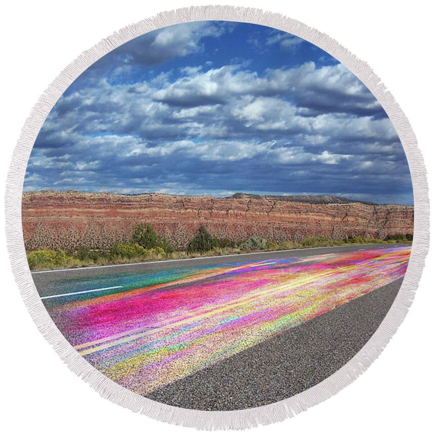 Desert Highway Round Beach Towel featuring the digital art Walking With God by Margie Chapman
