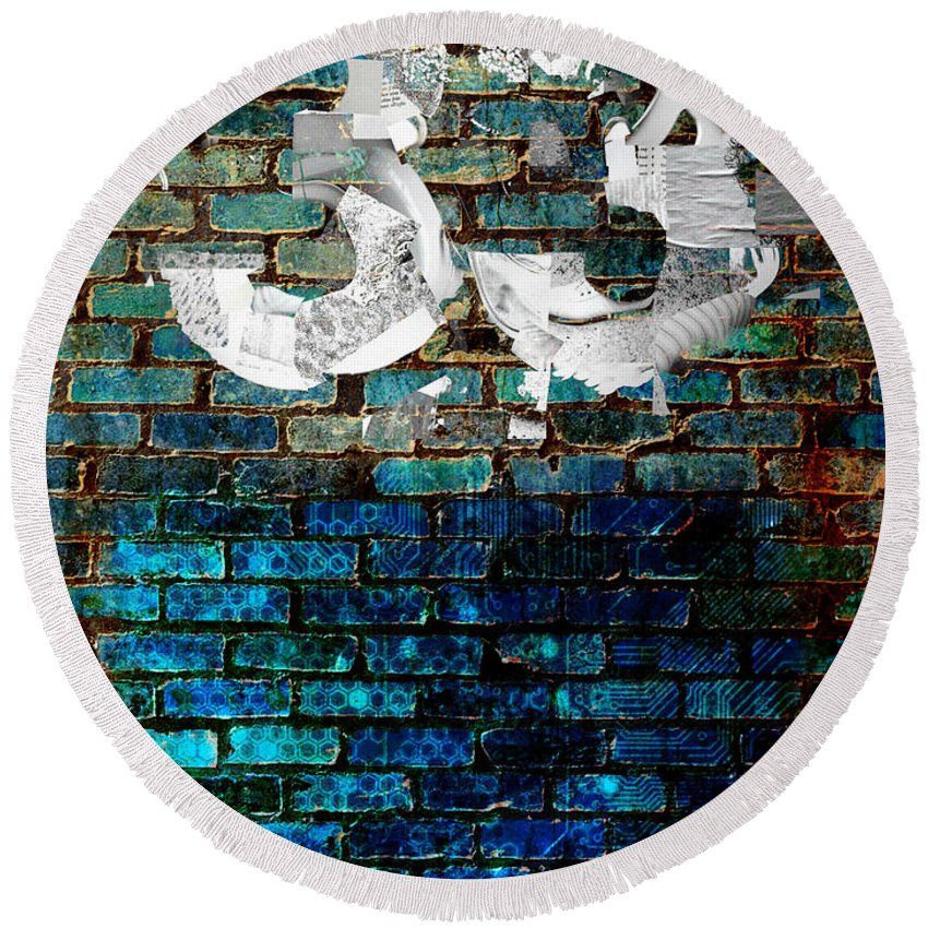 Digital-art Round Beach Towel featuring the digital art Wall Of Knowlogy Abstract Art by Mary Clanahan