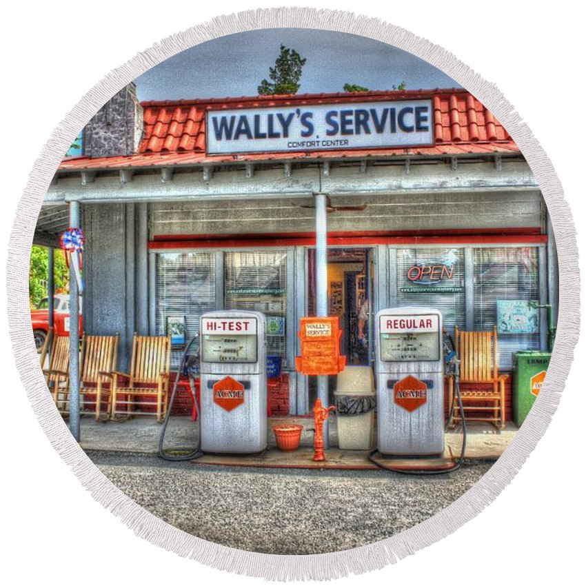 Vintage Round Beach Towel featuring the photograph Wally's Service Station by Dan Stone