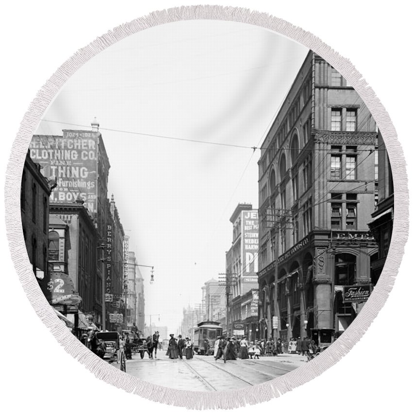 1906 Round Beach Towel featuring the photograph Walnut Street - Kansas City 1906 by Mountain Dreams
