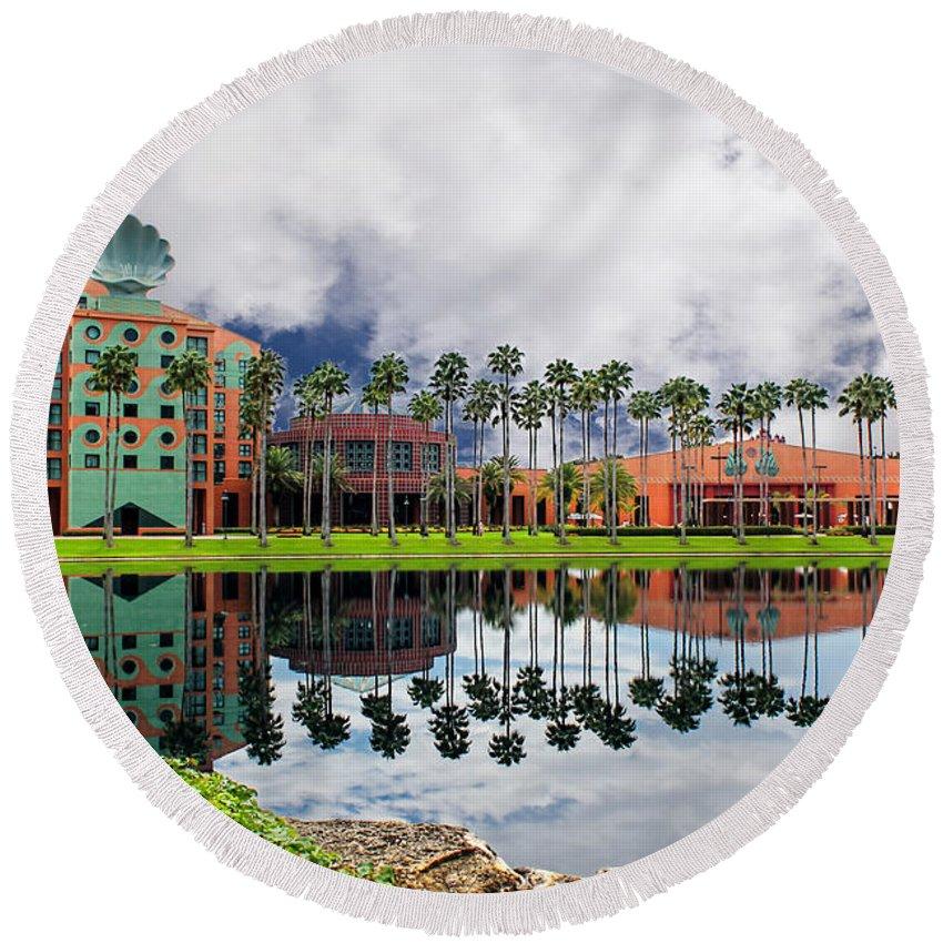 Disney World Round Beach Towel featuring the photograph Walt Disney World Swan Hotel by Carlos Diaz