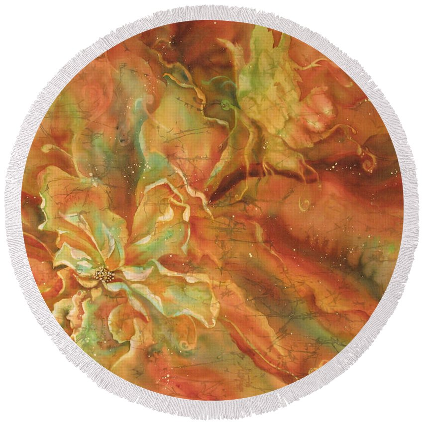 Silk Round Beach Towel featuring the painting Walter Investigates A New Flower by Deborah Younglao