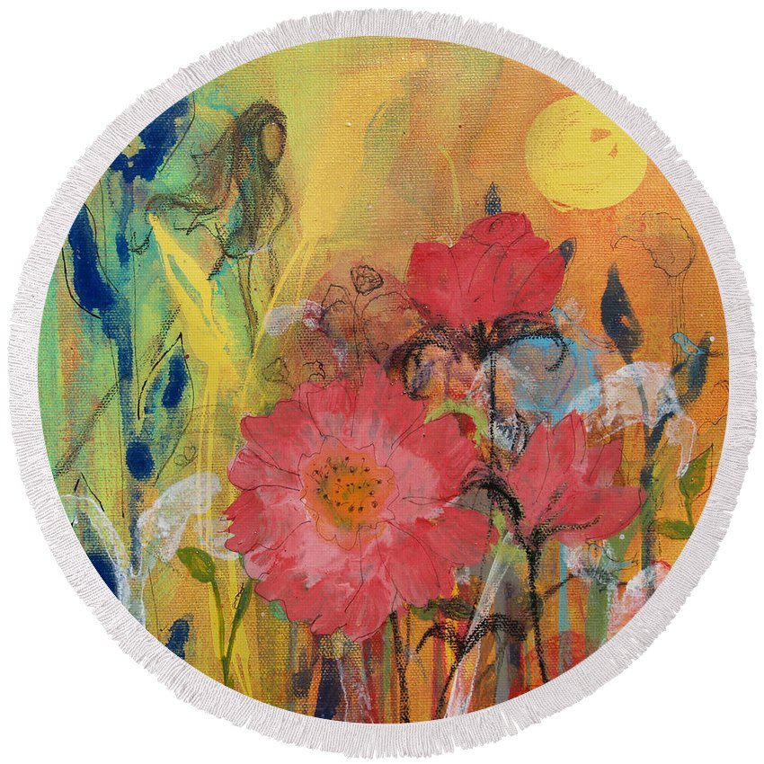 Princess Round Beach Towel featuring the painting Wandering Princess by Robin Maria Pedrero
