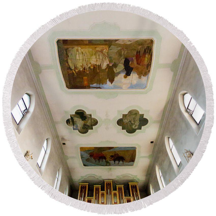 Jenny Setchell Round Beach Towel featuring the photograph Wangen Organ And Ceiling by Jenny Setchell