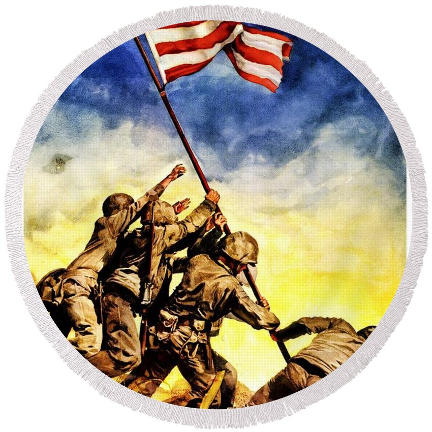 Vintage Round Beach Towel featuring the photograph War Poster - Ww2 - Iwo Jima by Benjamin Yeager