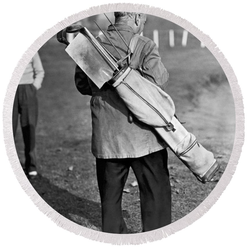 1930s Round Beach Towel featuring the photograph War Time On The Golf Course by Underwood Archives