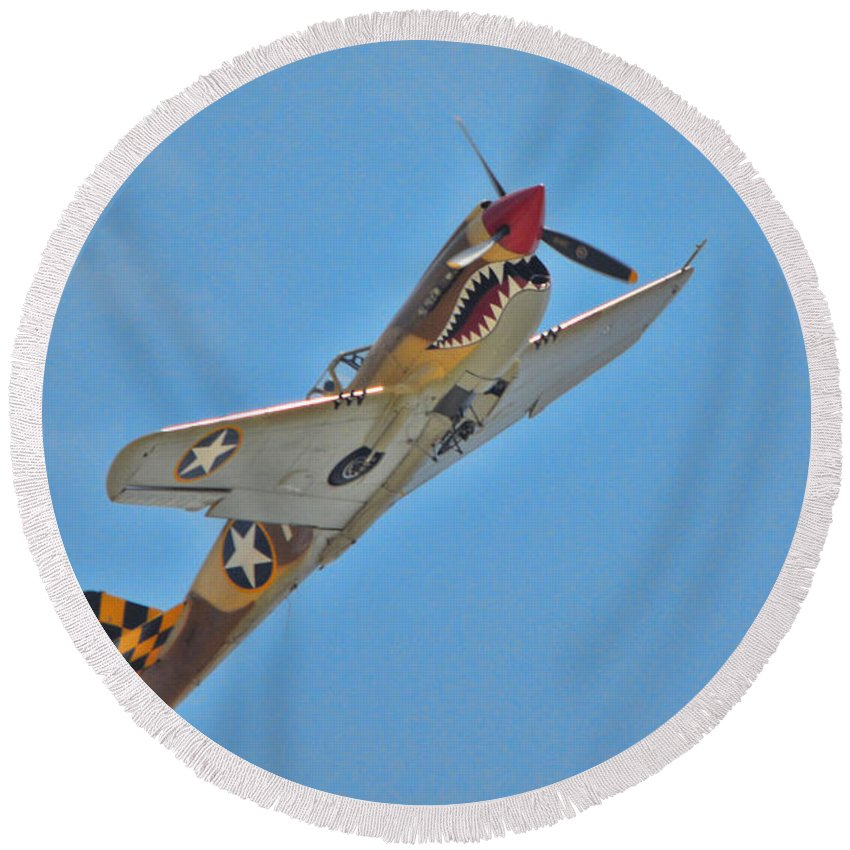 Curtis P-40 Warhawk Round Beach Towel featuring the photograph Warhawk Fighter by Tommy Anderson