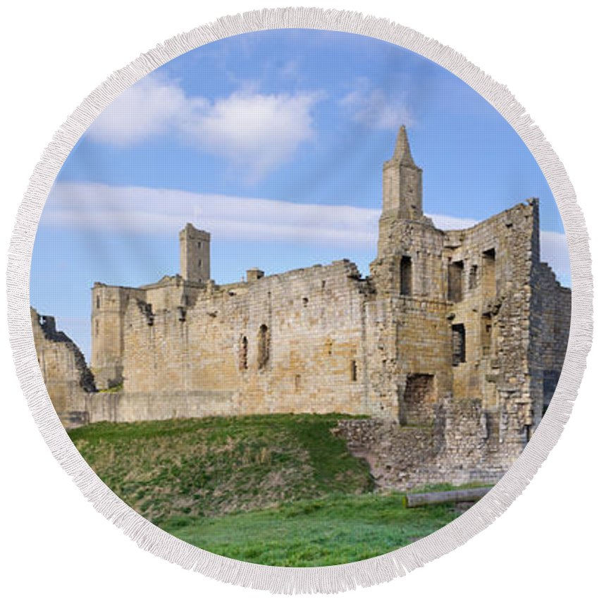 Northumberland Round Beach Towel featuring the photograph Warkworth Castle Panorama by David Head