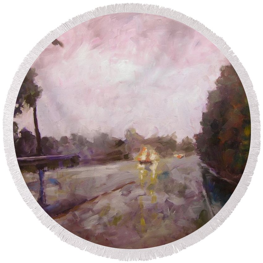 Oil Round Beach Towel featuring the painting Warm Rain by Mary McInnis