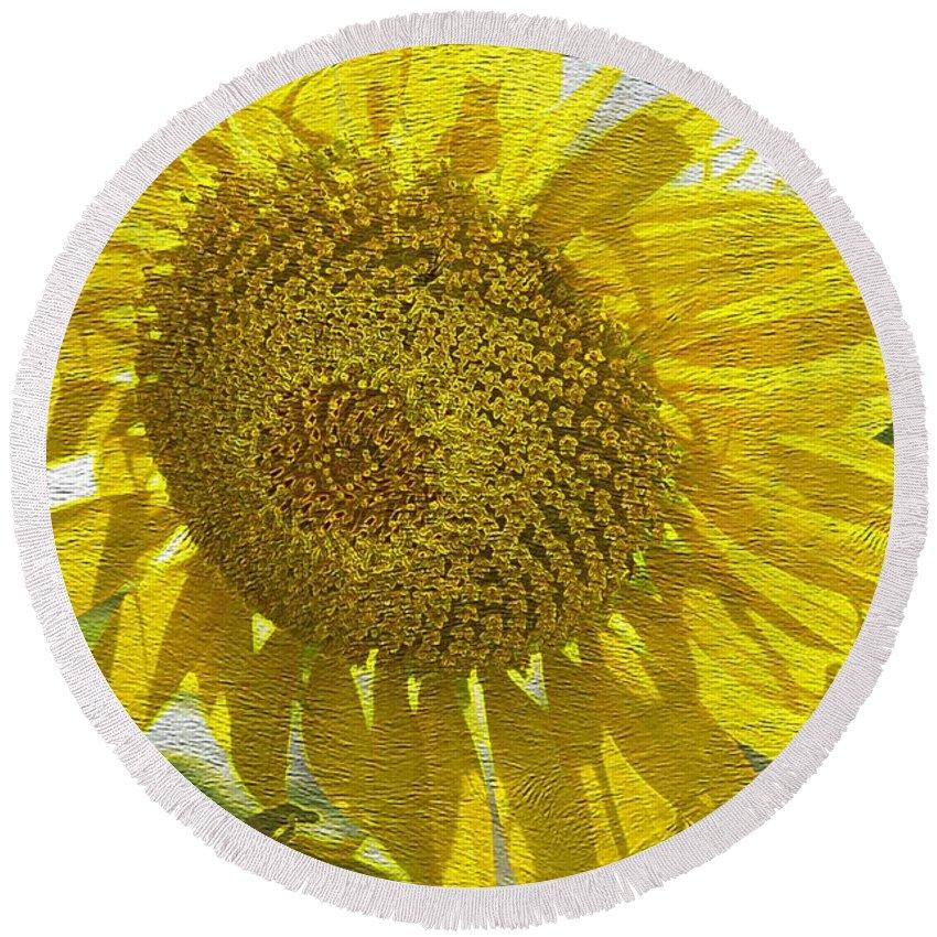 Warmth Upon My Back - Sunflower Round Beach Towel featuring the photograph Warmth Upon My Back - Sunflower by Maria Urso