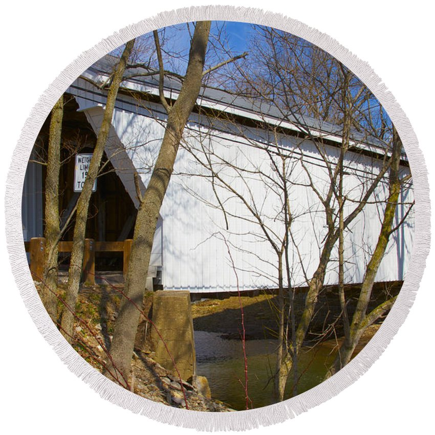Ohio Round Beach Towel featuring the photograph Warnke Covered Bridge by Jack R Perry
