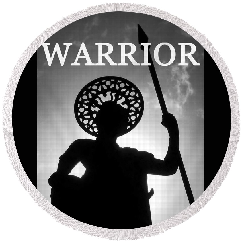 Warrior Round Beach Towel featuring the photograph Warrior White Text by David Lee Thompson