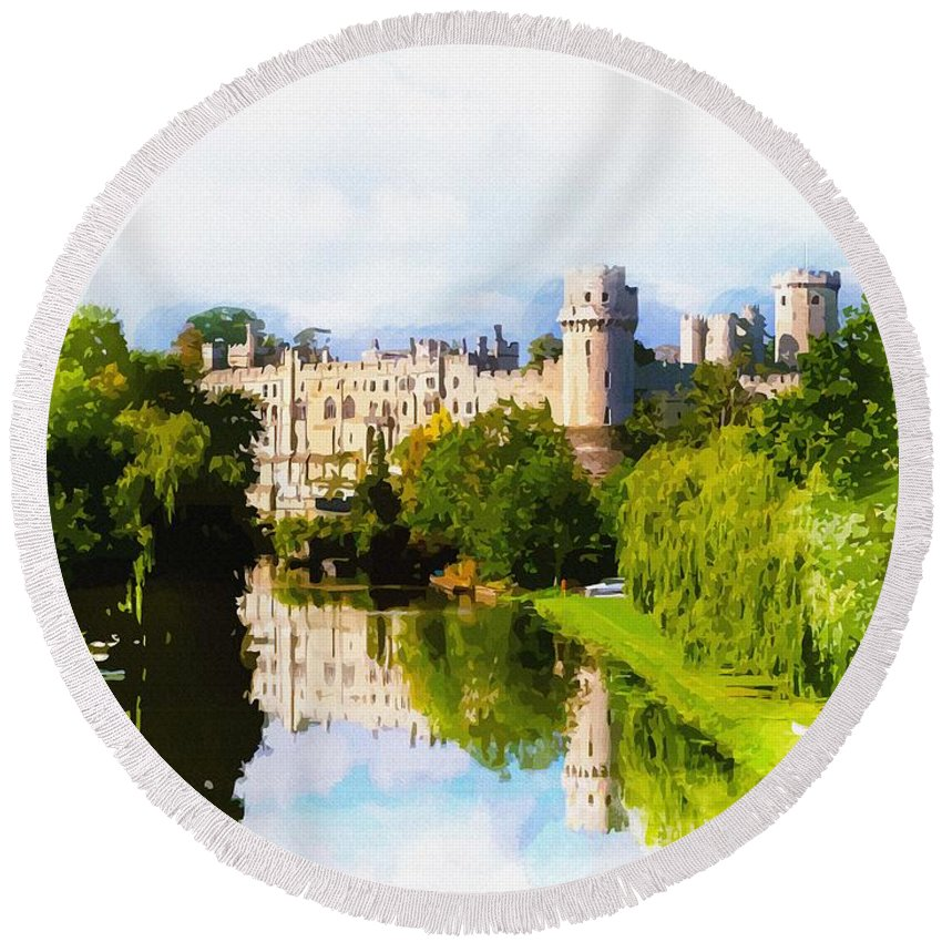 Warwick Castle Round Beach Towel featuring the digital art Warwick Castle by Don Kuing